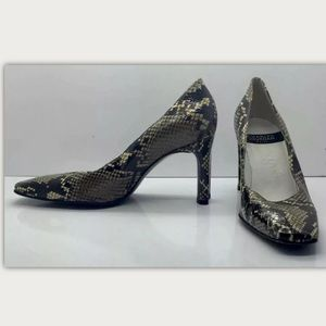CHARLES JOURDAN Python Snake Leather Pumps 6 Italy